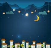 Abstracte document besnoeiing Maan met sterren, huis, boom en wolkenhemel bij nachtachtergrond Lege ruimte voor uw ontwerp Stock Foto