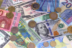 Abstracte dollar euro Zwitserse frank en muntstukkenachtergrond Royalty-vrije Stock Afbeelding