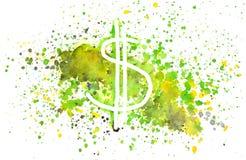 Abstracte dollarteken en plonsen van waterverf op witte achtergrond Stock Afbeelding