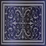 Abstracte Donkerblauwe Achtergrond van Elegante Uitstekende Bloemen Stock Foto's