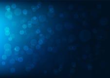 Abstracte donkerblauwe bokehachtergrond Stock Afbeeldingen