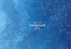 Abstracte Donkerblauwe Geometrische Veelhoekige molecule en mededeling als achtergrond Verbonden lijnen met punten Concept de wet royalty-vrije illustratie