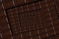 Abstracte donkere chocolade vierkante spiraalvormige chocoladereep De donkere achtergrond van de chocoladereeptablet Vierkante he Stock Fotografie