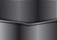 Abstracte donkergrijze metaalpijl op van de het achtergrond ontwerp moderne luxe van het cirkelnetwerk futuristische textuurvecto Stock Foto's