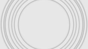 Abstracte driedimensionele cirkelsbeweging op witte achtergrond animatie De bulklaag spiraalvormige cirkels pulseren binnen stijg stock foto's