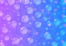 Abstracte Drijvende Bellen, Harten en Fonkelingen in Blauw en Violet Gradient Background royalty-vrije illustratie