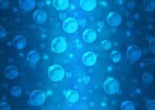 Abstracte Drijvende Bellen, Harten en Fonkelingen op Blauwe Gradiëntachtergrond royalty-vrije illustratie