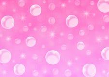 Abstracte Drijvende Witte Bellen en Fonkelingen op Roze Achtergrond vector illustratie