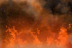 Abstracte dynamische fantasie oranje brand en rook kleurrijke achtergrond met vonken en damp Stock Foto's