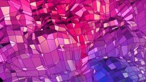 Abstracte eenvoudige blauwe rode lage poly 3D oppervlakte als beeldverhaalachtergrond Zachte geometrische lage polymotieachtergro royalty-vrije illustratie