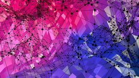 Abstracte eenvoudige blauwe rode lage poly 3D oppervlakte als poligonalmilieu Zachte geometrische lage polymotieachtergrond met royalty-vrije illustratie