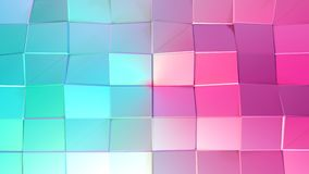 Abstracte eenvoudige blauwe roze lage poly 3D oppervlakte als wiskundige visualisatie Zachte geometrische lage polymotieachtergro royalty-vrije illustratie