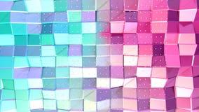 Abstracte eenvoudige blauwe roze lage poly 3D oppervlakte en vliegende witte kristallen als CG-achtergrond Zachte geometrische la royalty-vrije illustratie