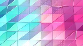Abstracte eenvoudige blauwe roze lage poly 3D oppervlakte en vliegende witte kristallen als futuristische hulp Zachte geometrisch royalty-vrije illustratie