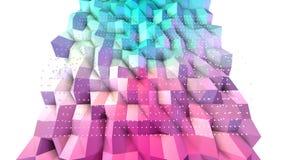 Abstracte eenvoudige blauwe roze lage poly 3D oppervlakte en vliegende witte kristallen als moleculaire achtergrond Zachte geomet royalty-vrije illustratie