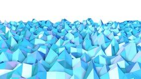 Abstracte eenvoudige blauwe violette lage poly 3D oppervlakte als 3d beeldverhaalachtergrond Zachte geometrische lage polymotieac stock illustratie
