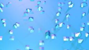 Abstracte eenvoudige blauwe violette lage poly 3D oppervlakte als geanimeerd milieu Zachte geometrische lage polymotieachtergrond vector illustratie
