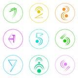 Abstracte Eenvoudige Kleurrijk van Logo Icons Set Thin Line Royalty-vrije Stock Afbeeldingen