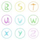Abstracte Eenvoudige Kleurrijk van Logo Icons Set Thin Line Royalty-vrije Stock Foto