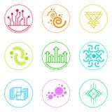 Abstracte Eenvoudige Kleurrijk van Logo Icons Set Thin Line Stock Foto