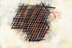 Abstracte eigentijdse kunstdruk met abstracte elementenlijnen stock foto's