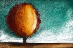 Abstracte eigentijdse kunstdruk met abstracte gouden boom stock afbeeldingen