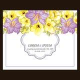 Abstracte elegantieuitnodiging met bloemenachtergrond Stock Foto