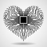 Abstracte elektronische kringsraad in vorm van hart Stock Foto