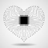 Abstracte elektronische kringsraad in vorm van hart Stock Fotografie