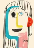 Abstracte en kleurrijke illustratie over mamma` s dag Royalty-vrije Stock Fotografie