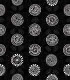 Abstracte Etnische Naadloze Achtergrond. Bloemenlijntextuur. Stock Afbeelding
