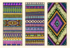 Abstracte Etnische Patroonkaarten op Lichte Achtergrond Royalty-vrije Stock Foto
