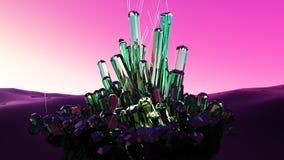 Abstracte fantasie gloeiende kristallen het 3d teruggeven Stock Afbeelding