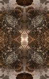 Abstracte fantastische affiche of achtergrond Futuristische mening van binnenuit van fractal Architecturaal Patroon 3d Royalty-vrije Stock Foto's