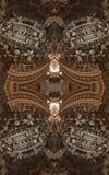 Abstracte fantastische affiche of achtergrond Futuristische mening van binnenuit van fractal Architecturaal Patroon 3d Royalty-vrije Stock Afbeelding
