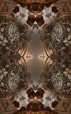 Abstracte fantastische affiche of achtergrond Futuristische mening van binnenuit van fractal Architecturaal Patroon 3d Royalty-vrije Stock Afbeeldingen
