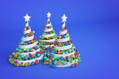 Abstracte feestelijke spiraalvormige die Kerstmisboom van wit lint met de ballen van regenboogkerstmis wordt gemaakt 3D geef illu vector illustratie