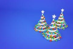 Abstracte feestelijke spiraalvormige die Kerstmisboom van wit lint met de ballen van regenboogkerstmis wordt gemaakt 3D geef illu royalty-vrije illustratie