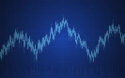Abstracte financiële grafiek met lijngrafiek en Kandelaars op blauwe kleurenachtergrond vector illustratie