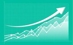 Abstracte financiële grafiek met uptrend lijngrafiek en aantallen in effectenbeurs stock illustratie
