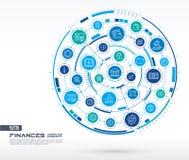 Abstracte financiën, de achtergrond van de banktechnologie Digitaal sluit systeem aan geïntegreerde cirkels, gloeiende lijnpictog Royalty-vrije Stock Fotografie