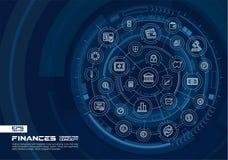 Abstracte financiën, de achtergrond van de banktechnologie Digitaal sluit systeem aan geïntegreerde cirkels, gloeiende lijnpictog vector illustratie