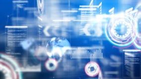Abstracte flighting pas als achtergrond door deeltjesverlichting voor het futuristische concept van de cybertechnologie over donk stock illustratie