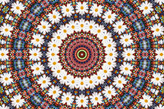 Abstracte fractal achtergrond - camomiles en parels Royalty-vrije Stock Fotografie