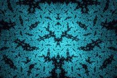 Abstracte Fractal Achtergrond Hoogst gedetailleerde achtergrond in cyaan en blauwe tonen met elementen van spiralen, lijnen en pa Stock Fotografie