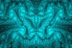 Abstracte Fractal Achtergrond Hoogst gedetailleerde achtergrond in cyaan en blauwe tonen met elementen van spiralen, lijnen en pa Stock Foto's