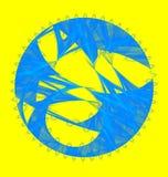 Abstracte fractal blauwe schijf met chaotische krommen Stock Foto