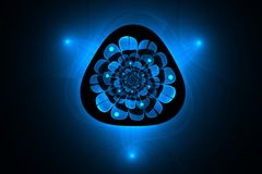 Abstracte fractal een geheimzinnige blauwe gloeiende bloem Stock Foto