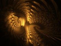 Abstracte fractal gouden vleugels Stock Foto