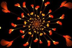 Abstracte fractal heldere rode bloemen Japanse motieven Stock Afbeeldingen